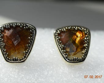 GoldTone Screw On Earrings with Amber Stone