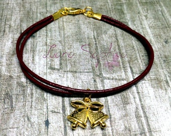 Leather bracelet dark red with Christmas bells in gold