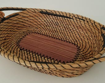 Exotic Striped Wood & Black Walnut Pine Needle Basket Tray- Hurricane Irma - Handmade - Organic Recycle Go Green - Gift Florida USA - 155.00