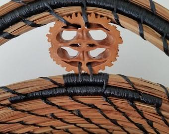 Bamboo Wood & Black Walnut Pine Needle Basket - Hurricane Irma - Handmade - Organic Recycle Go Green - Gift Florida USA - 155.00