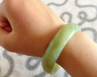 Green Jade Bracelet/Jade Bangle/Jade Accessory handmade genuine green jade
