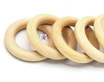Large rings closed wooden natural 56mm set of set of 2/4/6/8/10 units