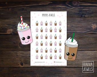 Chocolate & Strawberry Milkshake Planner Stickers