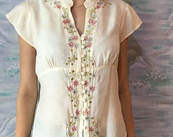 Ivory White Blouse Women Silky Blouse Embroidered Blouse Off White Blouse Button up Secretary's Shirt Creamy Short Sleeves Small to Medium