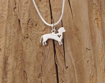 Sterling Silver Tiny Dachshund Dog Heart Charm Pendant Necklace Sausage Dog