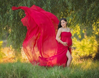 Maternity Gown-Red Maternity Dress-Split Front Maternity Gown-Maternity Gown for Photo Shoot-Maternity Gown Photography-Maternity Maxi Dress