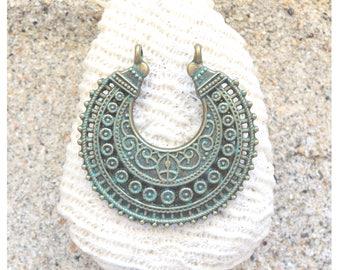 Patina Green Brass Earring Component, Boho, 38x37 mm