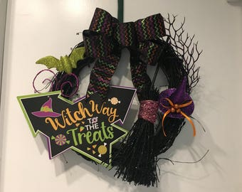Witch Way to the Treats Halloween Wreath