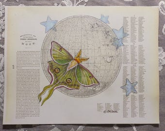 Luna Moth, Moon Moth, luna moth art, antique moon map, celestial art, moon and stars, insect art