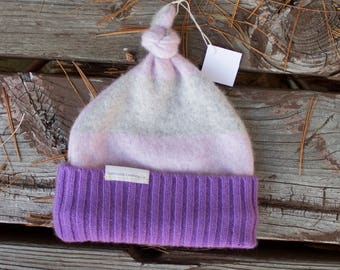 Up-cycled Cashmere and Wool Knot Hat- Pink and Purple Beanie- Child Hat- Baby Hat- Size 3-6 months
