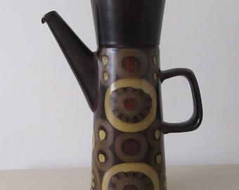 Denby Arabeseque Coffee Pot. 1960 Tall Coffee Pot. Retro Arabesque. 1960 Denby Arabesque Coffee Pot by Gill Pemberton. Arabesque Coffee Pot