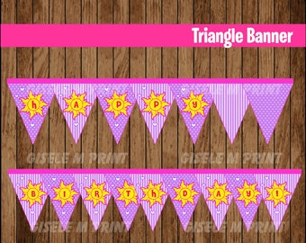 Tangled Banner, Printable Rapunzel Triangle Banner, Tangled party Banner instant download