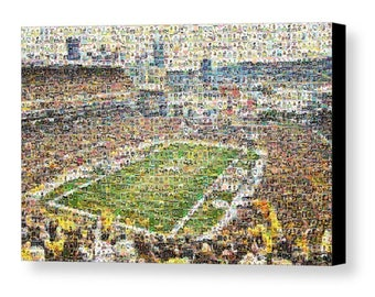 Amazing Mosaic Art Print of Heinz Field made of Pittsburgh Steelers Player Trading Card Images (1933-present).