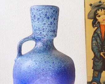 Mid Century blue Fat Lava vase