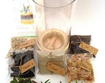 Tall Wooden Base Glass DIY Terrarium Kit, Miniature garden, Christmas gift for her,