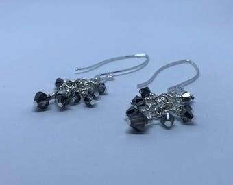 Sterling Silver Grey Swarovski Crystal Earrings