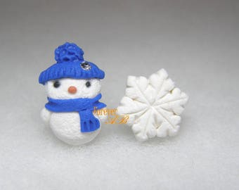 Earrings pin Snowman Blue idea Christmas gift