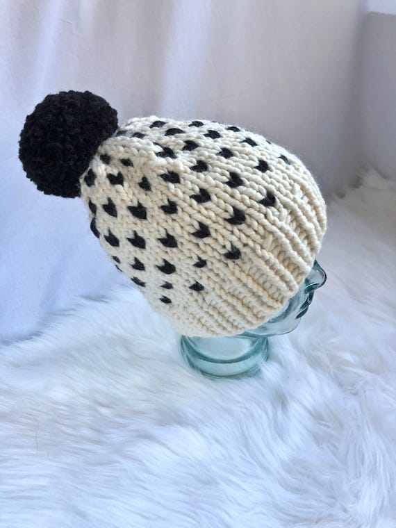 Fair Isle Knit Beanie Pom-Pom Hat Chunky Women's Hat
