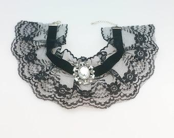 Black Netted Diamante Choker