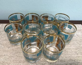 Vintage Southern Comfort Low Ball Glasses - Set of 10 By Libbery