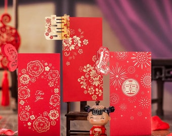 6 Assorted Laser Cut Chinese Wedding Double Happiness Red Money Envelopes