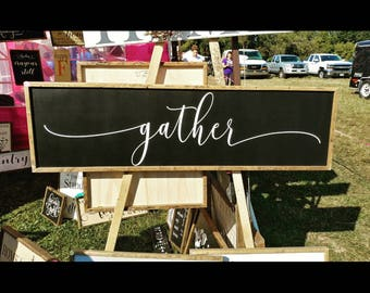 Gather Sign | Wood Gather sign | Large Gather sign | Framed Gather Sign | Farmhouse gather sign