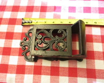 Cast Iron Match Safe Matchbox , Wall Mount Match Holder, Farmhouse Country Decor, Vintage.