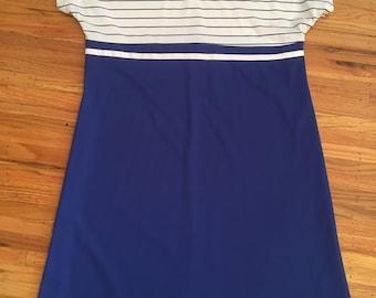 1980's blue and white preppy dress