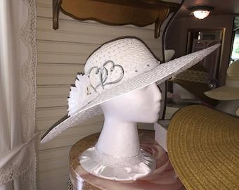 """Wedding Sun Hat White 18"""" Wide Brim"""