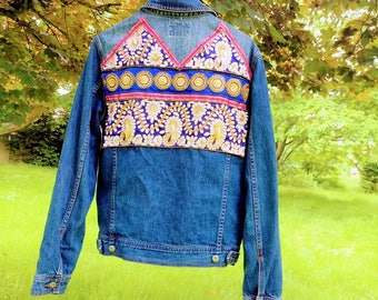 Hand-Embellished Vintage Denim Jacket