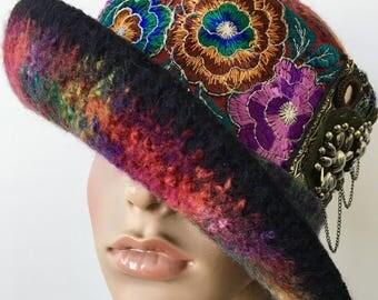 Steampunk Hat, Tribal Hat, Ethnic Hats, Unique Felt Hat, Funky Hat, Wool Cloche Hat, Wool Hat, Felted Winter Hat, Bohemian Hat, Gypsy Hat