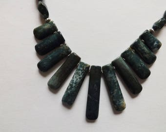 Genuine moss agate necklace