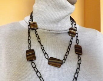 Long natural agate necklace