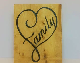 oak sign - oak plaque - personalised - heart family - rustic wall art - room decor  - christmas present - house warming - best friend