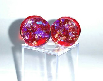 Ruby Bubble Plugs Sparkle Fantasy Red Blue Dichroic