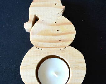 Snow snowman candle holder