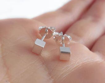 925 Sterling Silver Cube Square Stud Earrings, Square Earrings, Cube Earrings, Square Earrings, 3mm, Square Stud, Geometric Jewelry, Small