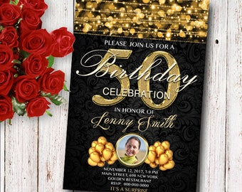 50th Golden Birthday Invitation Card, Golden Card, ANY AGE, 15th 16th 17th 18th 20st 30th 40th 50th 60th, Printable