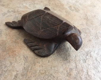 Vintage Handcrafted Wood Turtle • Made In Mexico