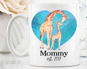 Baby Shower Gift Mug, New Baby Mug, Mommy To Be Mug, Mom Est Mug, Mommy Coffee Cup, Cute Giraffe Mug, Baby Giraffe Mug