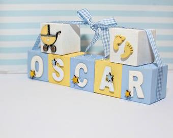 Handmade Personalised Decorative 5cm Wooden Baby Blocks Nursery Bedroom Decor Christening Gift Keepsake
