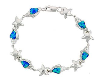 Blue Opal Sterling Silver Conch Charm Bracelet