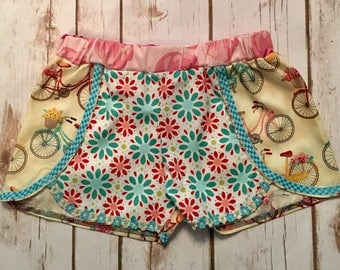 Boho size 6 retro flowers and bikes