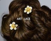 Bridal Hair fork Frangipani Hair accessories for women Hawaiian Hair clips Decorative hair fork Birthday return Gifts Plumeria flower pearl