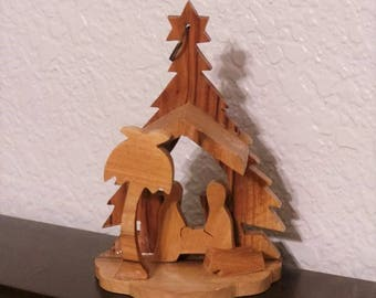 Nativity scene wooden Christmas ornament hand carved