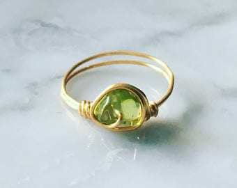 Gold Plated Peridot Ring - Birthstone ring - Green Peridot Ring - August Birthstone ring - Gemstone ring - Boho ring