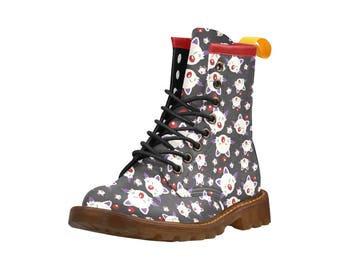 Moogles Doc Style Boots - Moogle Boots Final Fantasy Boots Doc Boots Video Game Boots Lace Up Boots
