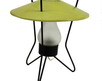 Mid century atomic tripod table lamp 1950s - vintage ufo table lamp - vintage space age table lamp with hurricane shade - blown glass lamp