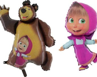 "2 x 32 "" Foil Balloon Masha and the Bear Birthday Party Decoration"