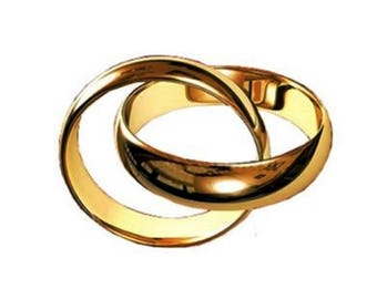 Pair ! HANDMADE ! 2 Wedding Rings, His and Hers Bands, Yellow or White 14k Gold, 4 or 5 mm Wide